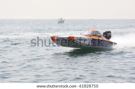 ISTANBUL, TURKEY - SEPTEMBER 19: Casagni Giovanni and Redaelli Francesco drive a Yuka Team Offshore225 boat during Architon Offshore Championship, Moda stage on September 19, 2010 in Istanbul, Turkey