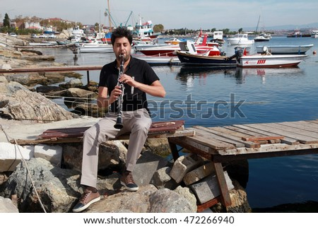ISTANBUL, TURKEY - SEPTEMBER 16: Famous Turkish musician, academician and clarinetist Serkan Cagri portrait on September 16, 2013 in Istanbul, Turkey.