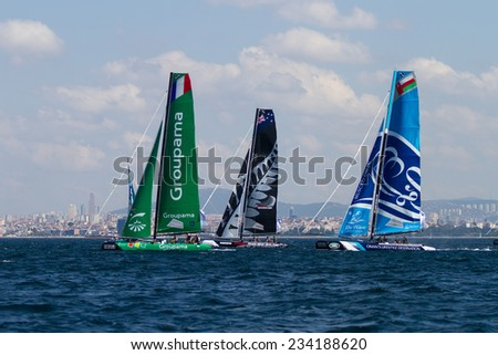 ISTANBUL, TURKEY - SEPTEMBER 13, 2014: Groupama,  Emirates Team New Zealand and The Wave, Muscat Teams competes in Extreme Sailing Series.