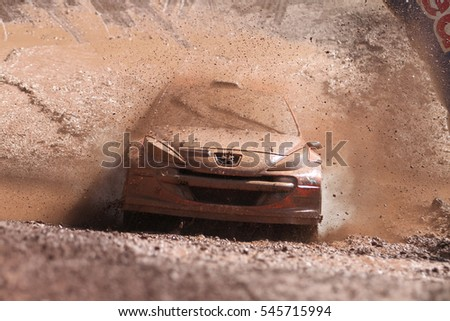 ISTANBUL, TURKEY - SEPTEMBER 25, 2016: Hakki Agaoglu drives Peugeot 207 S2000 of GP Garage My Team in Istanbul Rally
