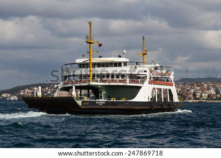 ISTANBUL, TURKEY - SEPTEMBER 19, 2014: IDO Ferry passing from Asian to European side of Istanbul. 18 ferries in 3 different types carry passengers and vehicles between Sirkeci and Harem.