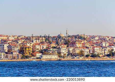 ISTANBUL, TURKEY - SEPTEMBER 29, 2013: Looking towards the Beyoglu district from the boat.