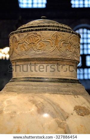 ISTANBUL, TURKEY - SEPTEMBER 29, 2015: Marble jar in the old church of Hagia Sophia in Istanbul, Turkey.