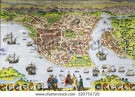 Istanbul, Turkey - September 25, 2015: Miniature describe old Istanbul with Bosphorus and Golden Horn During Era of Ottoman - stock photo
