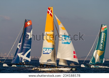ISTANBUL, TURKEY - SEPTEMBER 13, 2014: Oman Air, SAP and Realteam Teams competes in Extreme Sailing Series.