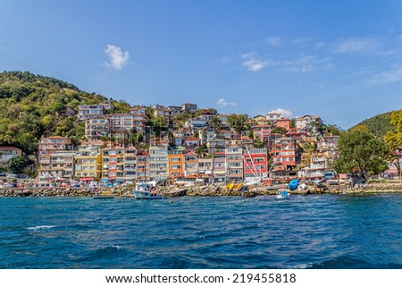 ISTANBUL, TURKEY - SEPTEMBER 29, 2013: Panoramic view of the waterfront houses in small fishing village near the entrance to the Black sea.