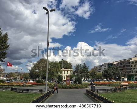 ISTANBUL, TURKEY - SEPTEMBER 23, 2016: Park in Kadikoy district in Istanbul, Turkey