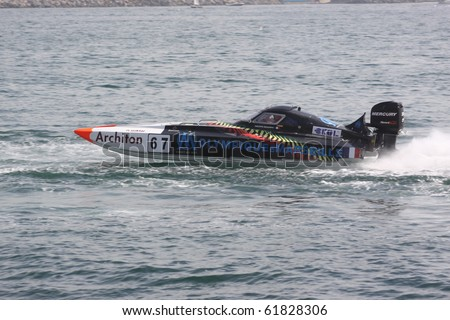 ISTANBUL, TURKEY - SEPTEMBER 19: Philippe BENHAMOU and Jerome BRARDA drive a Marseille Team Offshore 225 boat during Architon World Championship, Moda stage on September 19, 2010 in Istanbul, Turkey