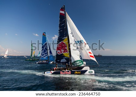 ISTANBUL, TURKEY - SEPTEMBER 13, 2014: Red Bull Sailing and The Wave, Muscat teams compete in Extreme Sailing Series. - stock photo