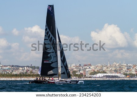 ISTANBUL, TURKEY - SEPTEMBER 13, 2014: Skipper Dean Barker, Emirates Team New Zealand competes in Extreme Sailing Series.