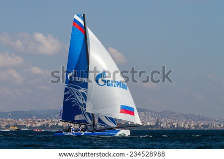 ISTANBUL, TURKEY - SEPTEMBER 13, 2014: Skipper Igor Lisovenko, Gazprom Team Russia competes in Extreme Sailing Series.