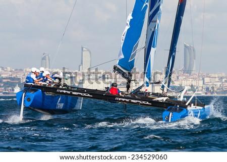 ISTANBUL, TURKEY - SEPTEMBER 13, 2014: Skipper Igor Lisovenko, Gazprom Team Russia competes in Extreme Sailing Series. - stock photo