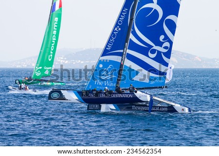 ISTANBUL, TURKEY - SEPTEMBER 13, 2014: Skipper Leigh McMillan, The Wave, Muscat Team competes in Extreme Sailing Series. - stock photo