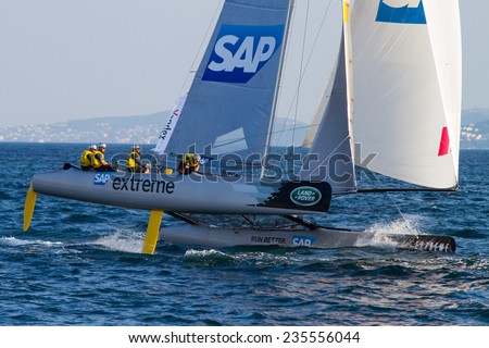 ISTANBUL, TURKEY - SEPTEMBER 13, 2014: Skipper Rasmus Kostner, SAP Team competes in Extreme Sailing Series. - stock photo