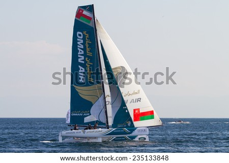 ISTANBUL, TURKEY - SEPTEMBER 13, 2014: Skipper Rob Greenhalgh, Oman Air Team competes in Extreme Sailing Series.