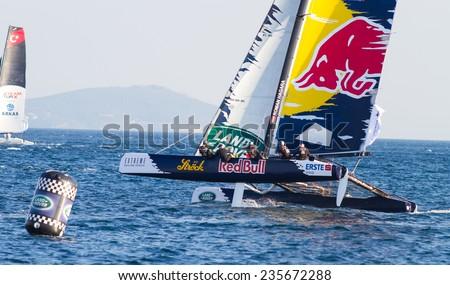 ISTANBUL, TURKEY - SEPTEMBER 13, 2014: Skipper Roman Hagara, Red Bull Sailing Team competes in Extreme Sailing Series. - stock photo
