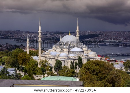 ISTANBUL, TURKEY - SEPTEMBER 27, 2016: Suleymaniye mosque view from Beyazit Tower on September 27, 2016 in Istanbul, Turkey. Suleymaniye Mosque is the most important work of Mimar Sinan