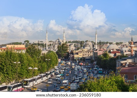 ISTANBUL, TURKEY - SEPTEMBER 08, 2014: The New Mosque (Yeni Cami) originally named the Valide Sultan Mosque on September 08, 2014 in Istanbul, Turkey.