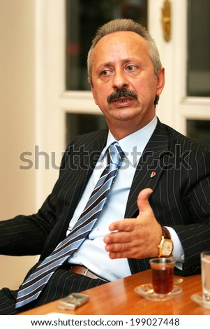 ISTANBUL, TURKEY - SEPTEMBER 28: Turkish businessman and sportsman Haluk Ulusoy portrait on September 28, 2006 in Istanbul, Turkey. He is the former president of Turkish Football Federation.