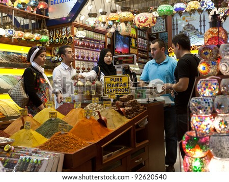 ISTANBUL, TURKEY - SEPTEMBER 6:Typical crowded bazaar scene just before Bairam in the Egyptian Bazaar (Istanbul Spice Market). September 6, 2011, Istanbul - Turkey. - stock photo