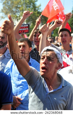 ISTANBUL, TURKEY - SEPTEMBER 14: Unidentified activists participate in a protest. Protested the American Middle East policy  on September  14,2012 in Istanbul,Turkey.