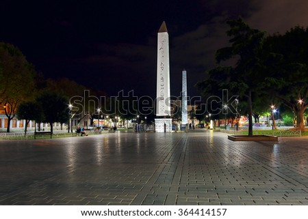 ISTANBUL, TURKEY - September 12, 2015: View on Sultanahmet square and egyptian obelisk