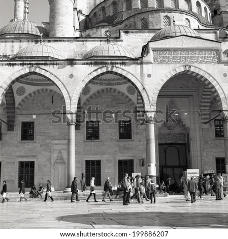 ISTANBUL, TURKEY - 9th of April 2014: Main entrance of the Sultanahmet Mosque (Blue Mosque) on 9th of April 2014 in ISTANBUL, TURKEY (black and white)