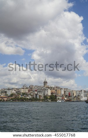 ISTANBUL,TURKEY -  2016; View of Karakoy, Galata Tower and the Golden Horn from Eminonu coast in Istanbul, Turkey