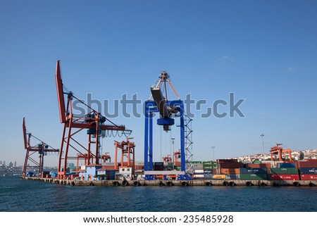 Istanbul, Uskudar, Turkey - September 6, 2011: Port of Haydarpasa and Container Cranes at Istanbul,Turkey. You are watching sunny and clear sky at the background and a little part of Istanbul.