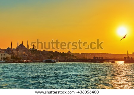 Istanbul View of the sunset in the rays of the sun. Istanbul is the largest city in Turkey. - stock photo