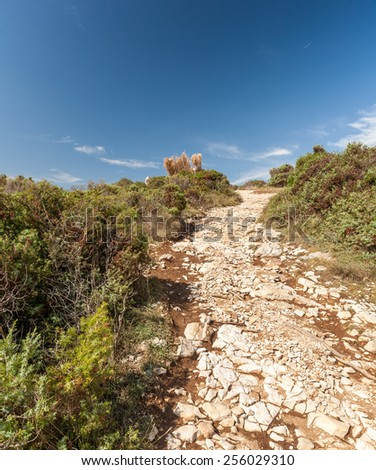 Istria, Croatia. rocky path in the mountains on a sunny day - stock photo