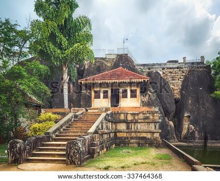 Isurumuniya Viharaya in the sacred world heritage city of Anuradhapura, Sri Lanka. Panorama - stock photo