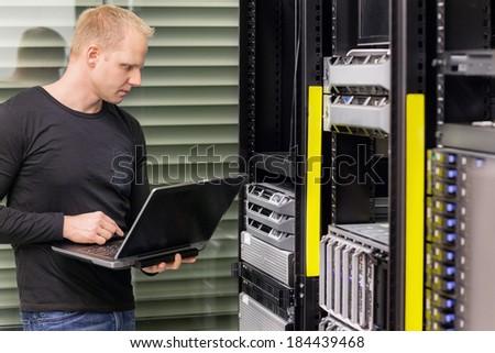 It consultant in data center - stock photo