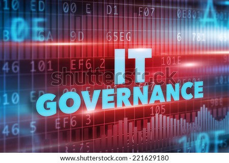 IT Governance concept with blue text and red background - stock photo