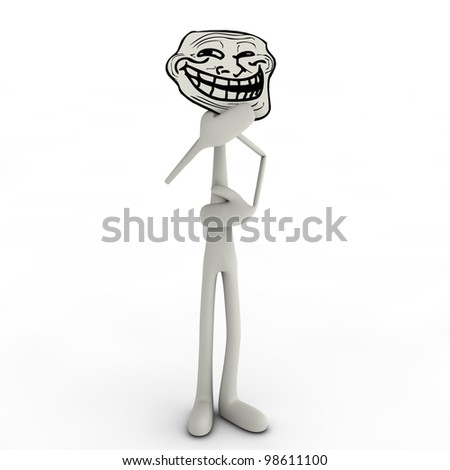 it is a abstract man with a trollface - stock photo