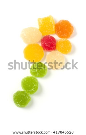 It is a flower of jelly sweets on a white background