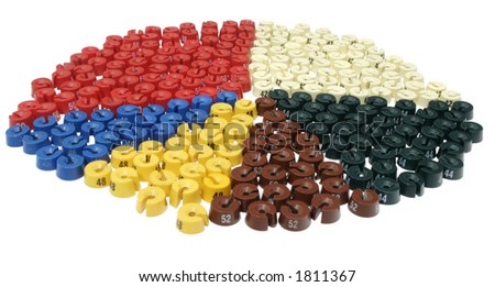 It is a lot of color size washers - stock photo