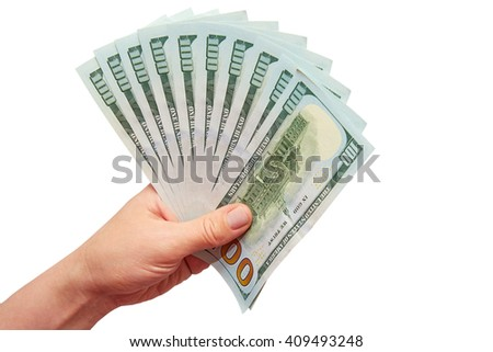 it is a lot of dollars in a hand on a white background