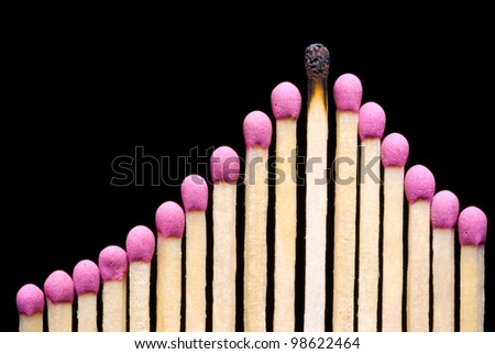 It is a lot of matches on a black background (one match spoiled). - stock photo
