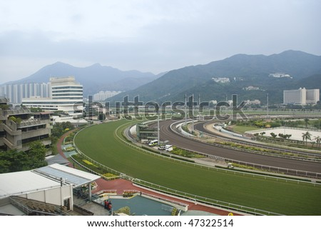 it is a shot of horse race empty track. - stock photo