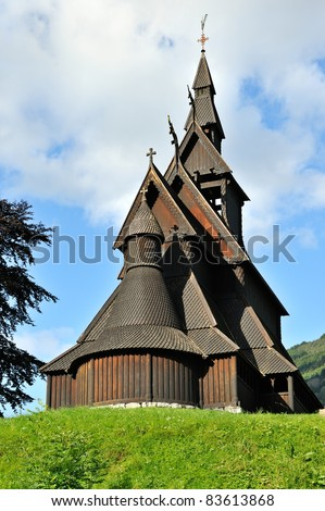 It is a stave church near Vikoyri in the municipality of Vik in Sogn og Fjordane county. Here is the back side of the building - stock photo