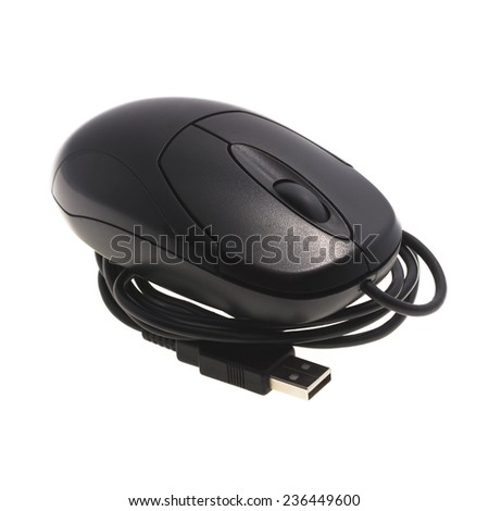 It is Black mouse with usb cable isolated on white. - stock photo
