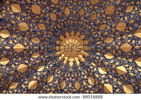 It is ceiling of Aksaray mausoleum, Samarkand, Uzbekistan - stock photo