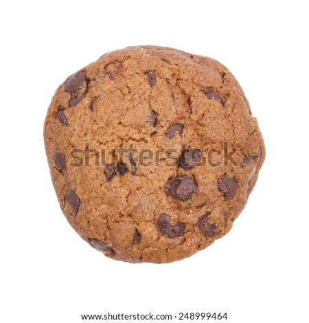 It is Chocolate chip cookie isolated on white. - stock photo