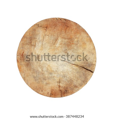 It is Circle cutting board isolated on white.