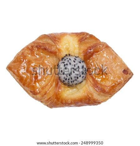 It is Dragon fruit danish bread isolated on white. - stock photo