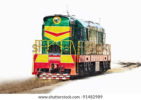 It is green a red diesel train on the railway. isolated - stock photo