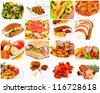 It is meal time with a bunch of food - stock photo