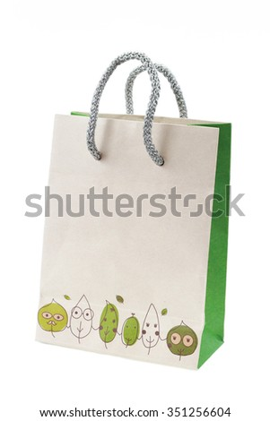 It is Multipurpose paper bag isolated on white. - stock photo