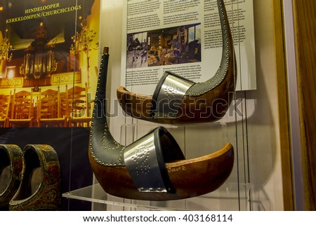 It is one of exhibits of the Ethnic Factory Museum of clogs (klomp) May 9, 2013 in Zaanse Schans, Netherlands.